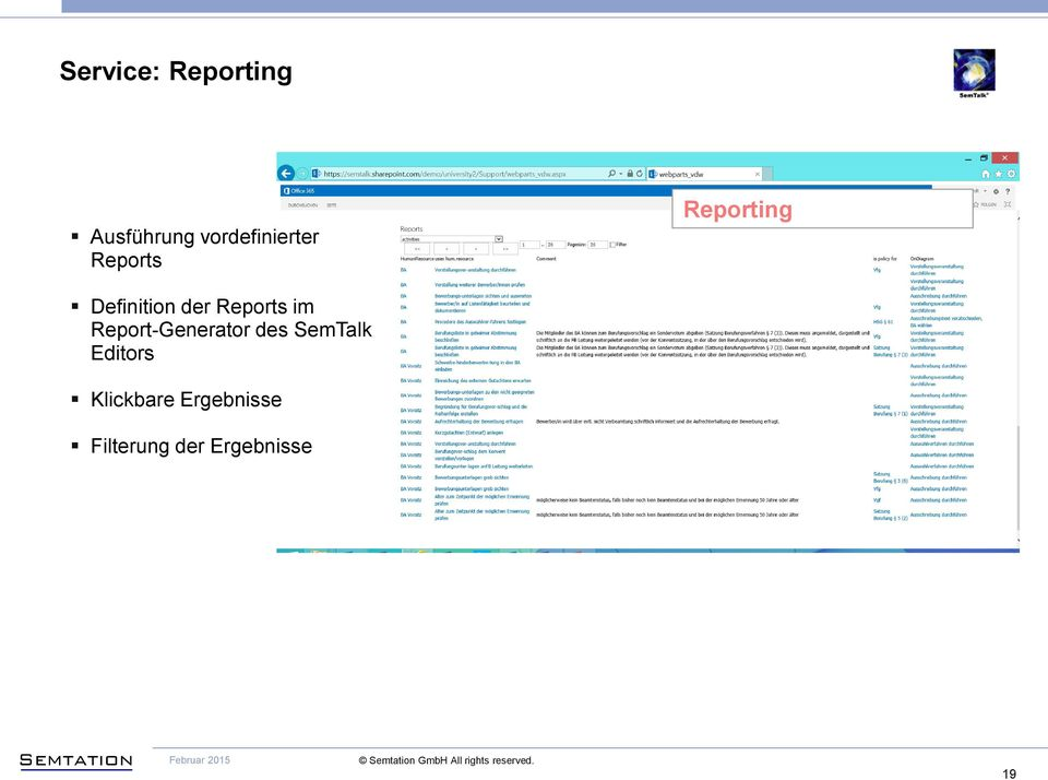 der Reports im Report-Generator des SemTalk