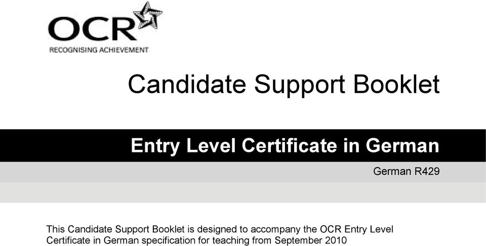 designed to accompany the OCR Entry Level Certificate
