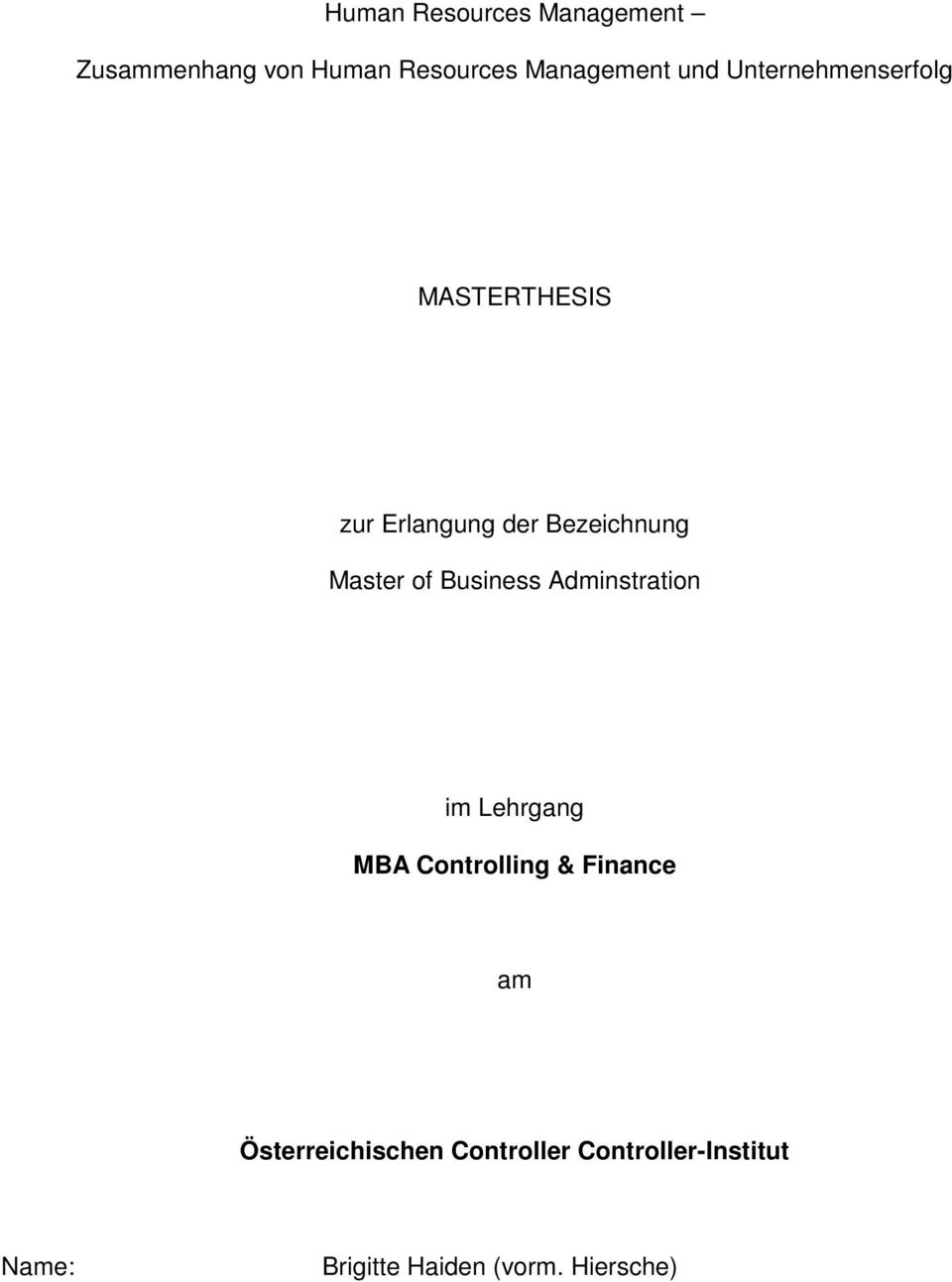 Business Adminstration im Lehrgang MBA Controlling & Finance am