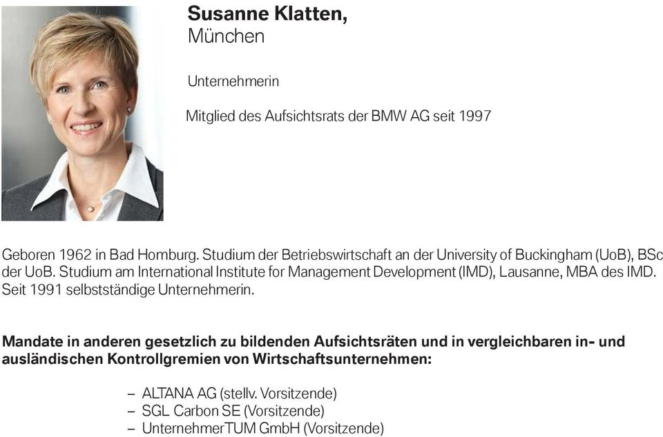 Studium am International Institute for Management Development (IMD), Lausanne, MBA des IMD.