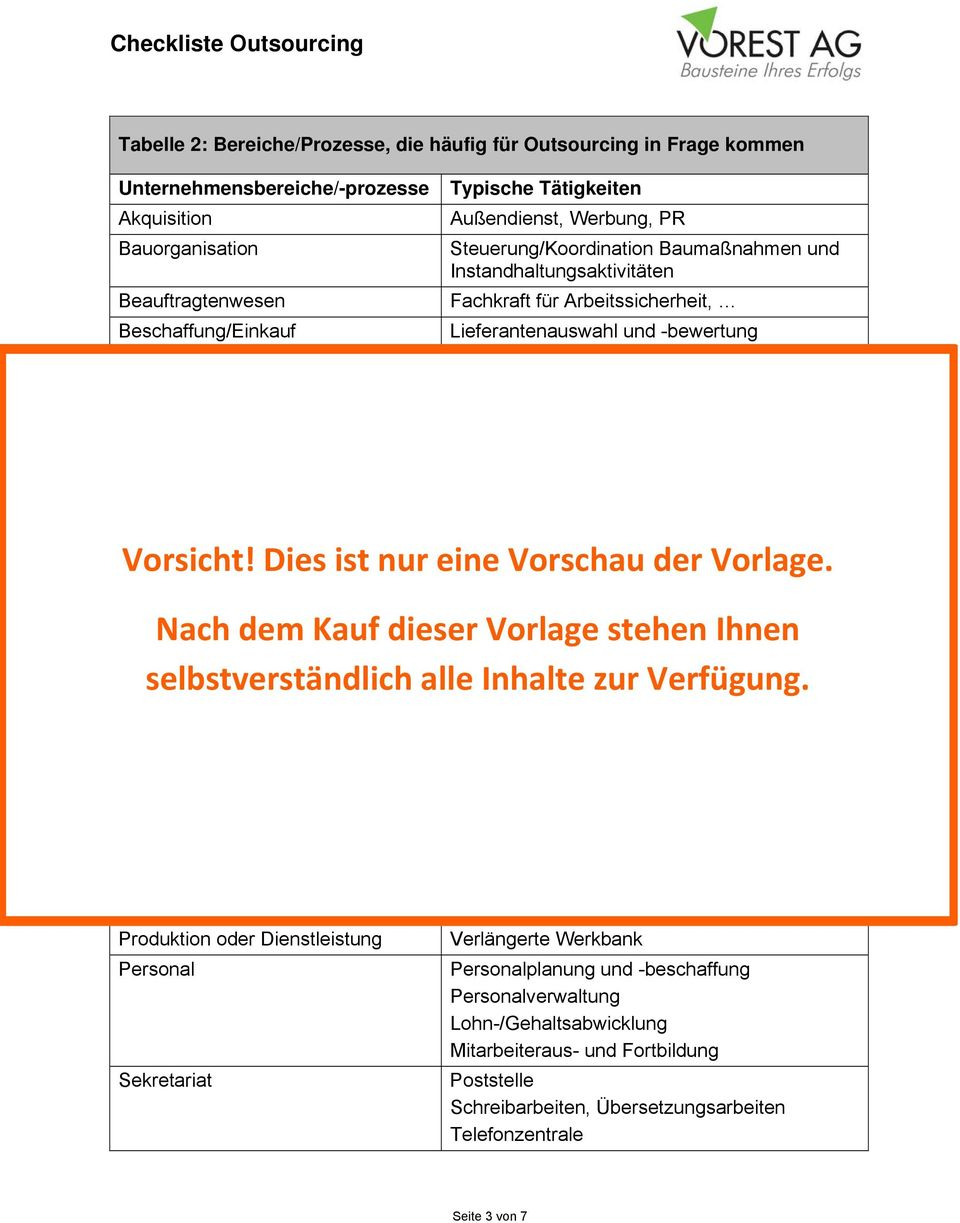 Vorschau PDF. Paket Outsourcing - Checkliste Outsourcing & Vorlage ...