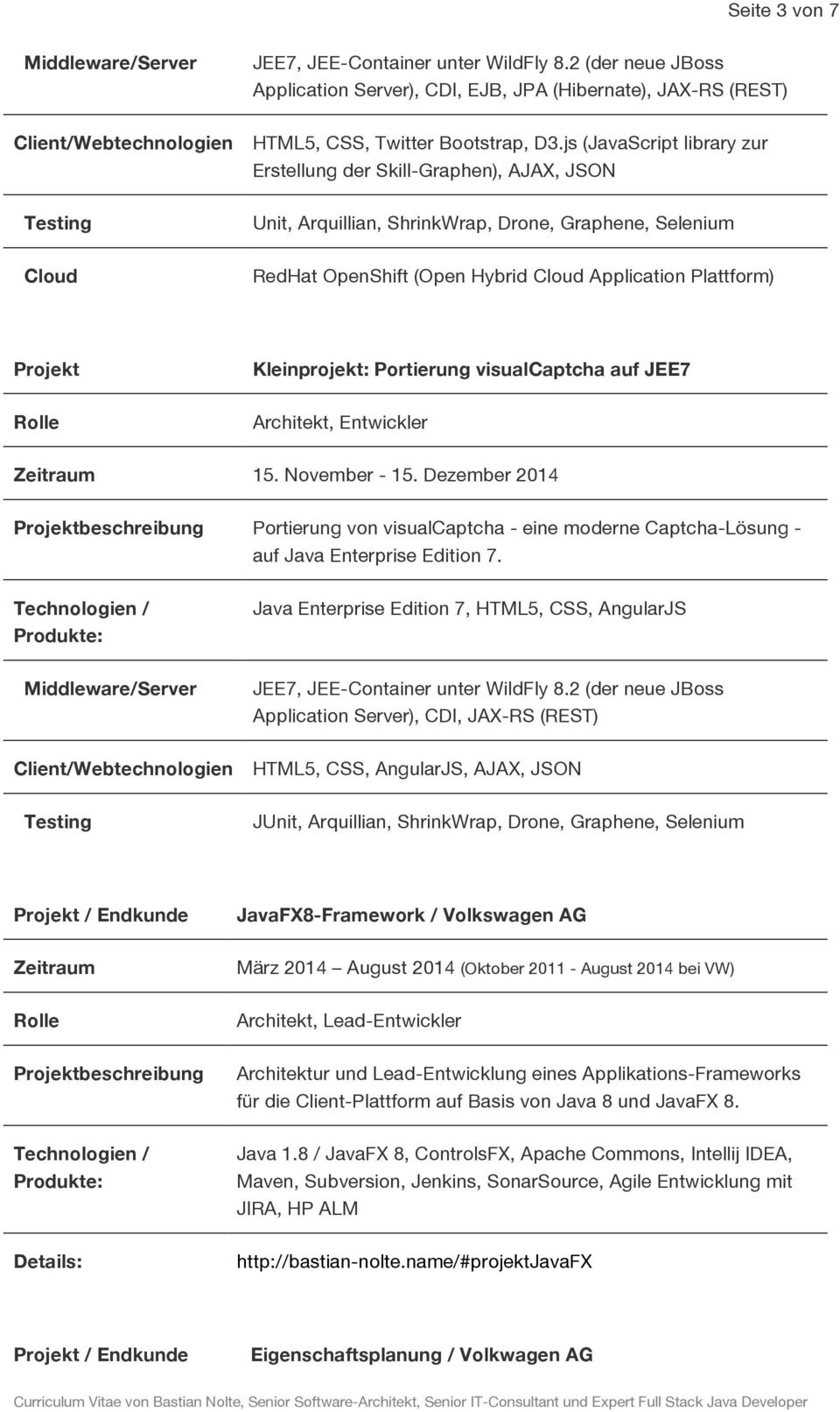 js (JavaScript library zur Erstellung der Skill-Graphen), AJAX, JSON Testing Unit, Arquillian, ShrinkWrap, Drone, Graphene, Selenium Cloud RedHat OpenShift (Open Hybrid Cloud Application Plattform)