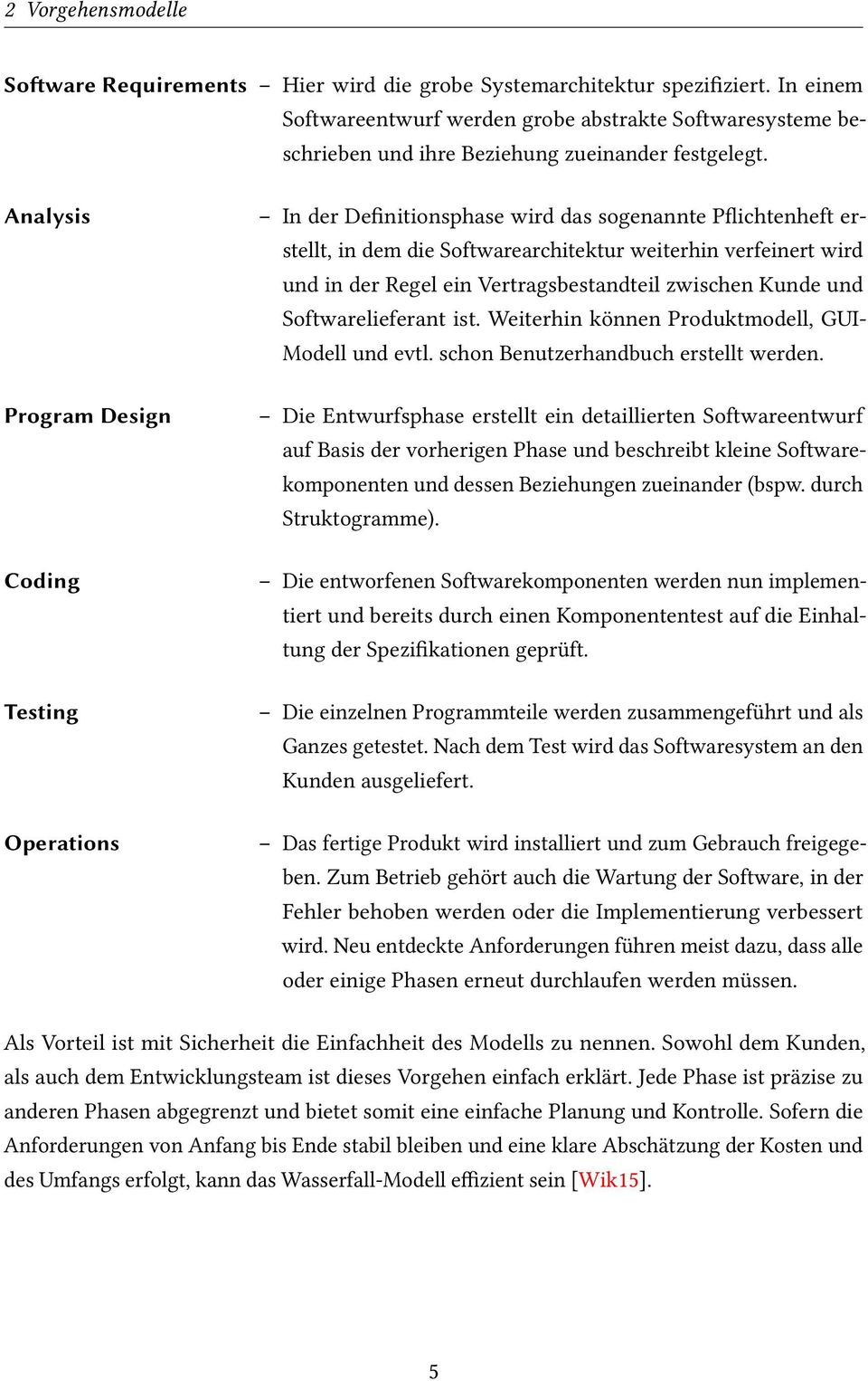 Analysis Program Design Coding Testing Operations In der Definitionsphase wird das sogenannte Pflichtenheft erstellt, in dem die Softwarearchitektur weiterhin verfeinert wird und in der Regel ein