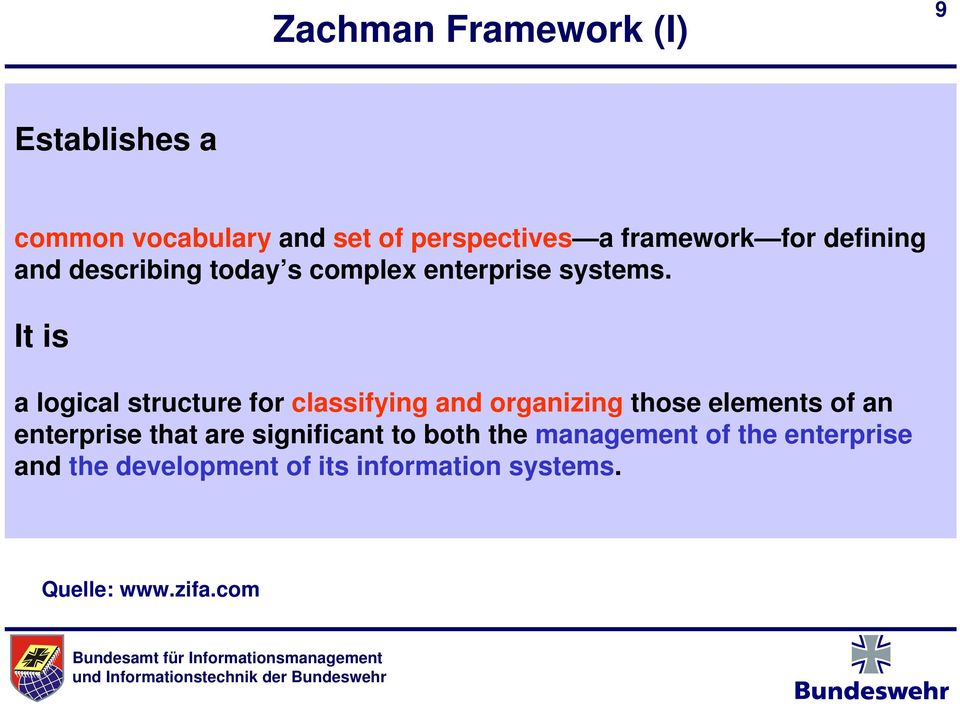 It is a logical structure for classifying and organizing those elements of an enterprise that
