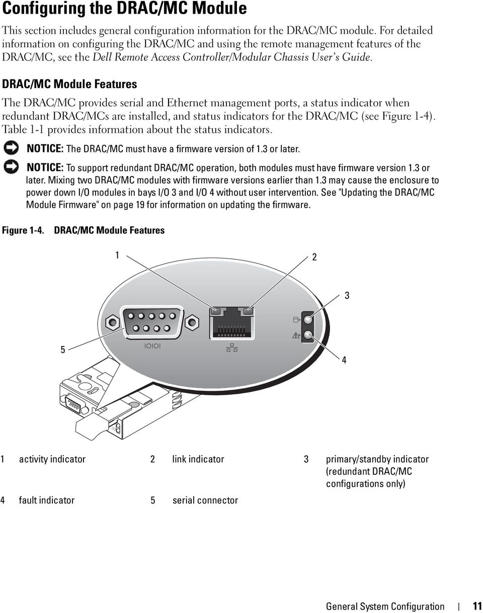 DRAC/MC Module Features The DRAC/MC provides serial and Ethernet management ports, a status indicator when redundant DRAC/MCs are installed, and status indicators for the DRAC/MC (see Figure 1-4).