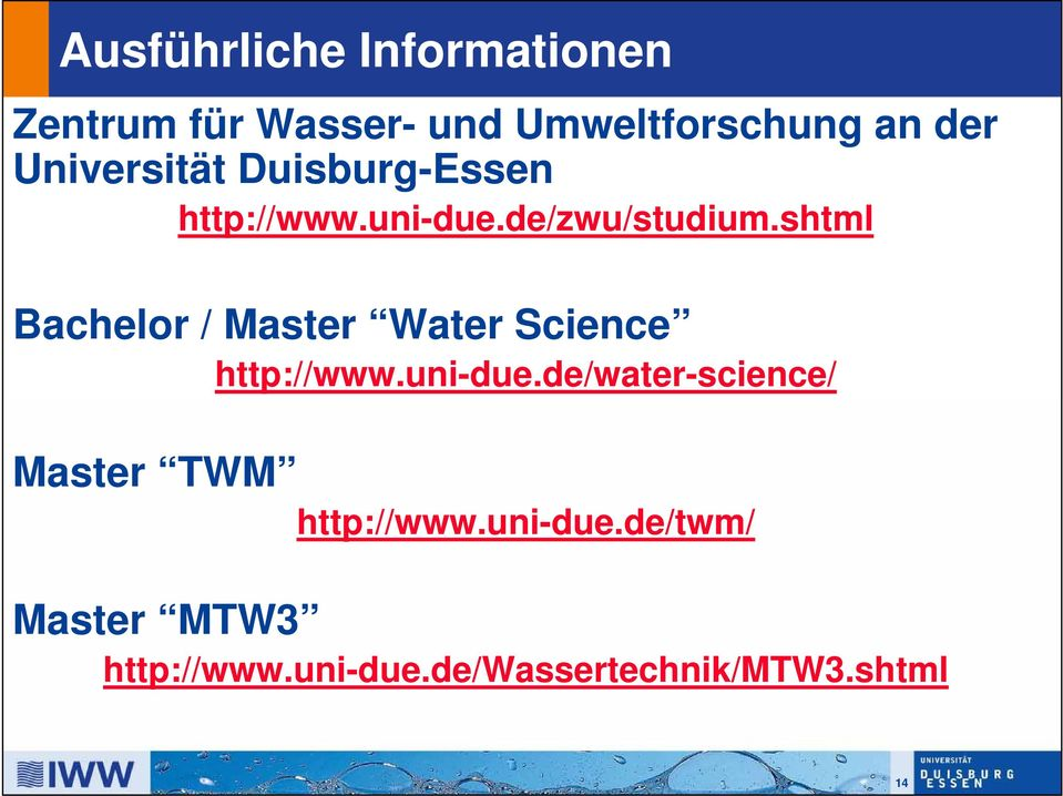 shtml Bachelor / Master Water Science http://www.uni-due.