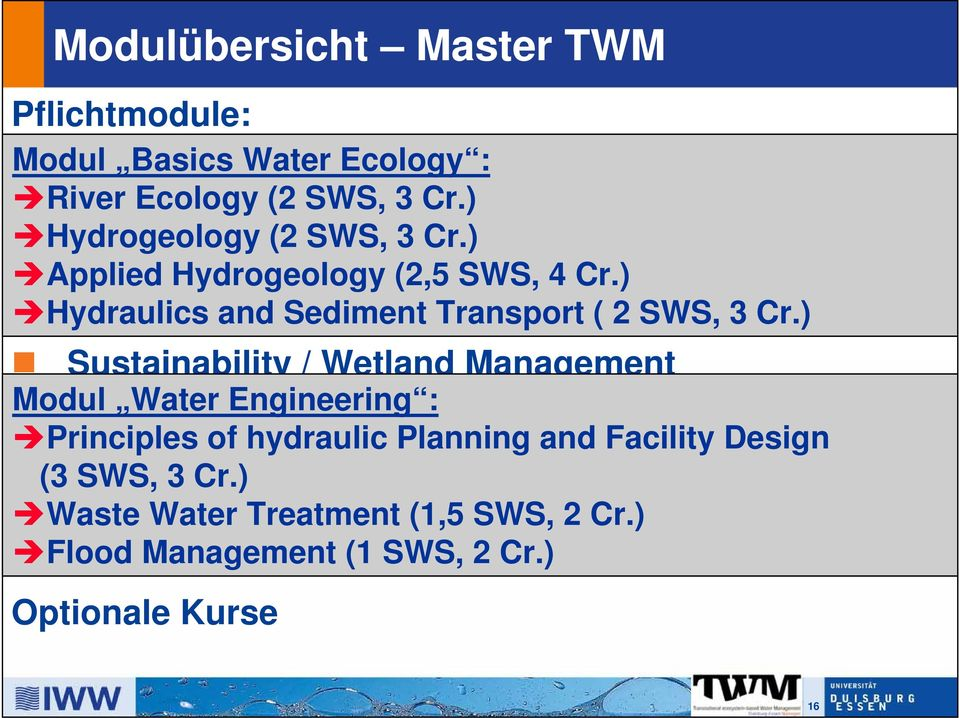 ) Hydraulics and Sediment Transport ( 2 SWS, 3 Cr.