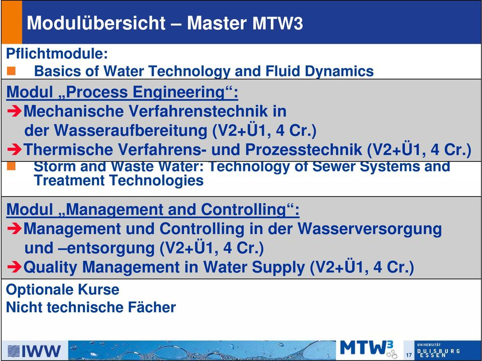 ) Water Treatment: Conventional and Advanced Technologies Practical Course Water Technology Storm and Waste Water: Technology of Sewer Systems and Treatment Technologies Modul Management