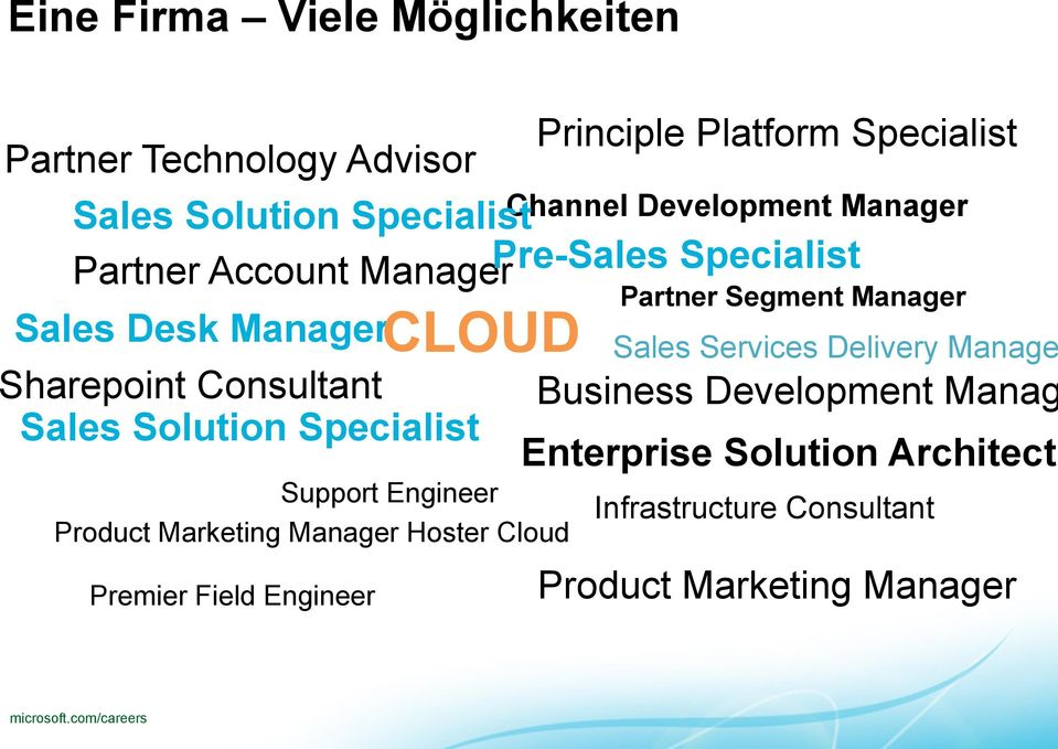 Engineer CLOUD Support Engineer Product Marketing Manager Hoster Cloud Channel Development Manager Partner Segment Manager