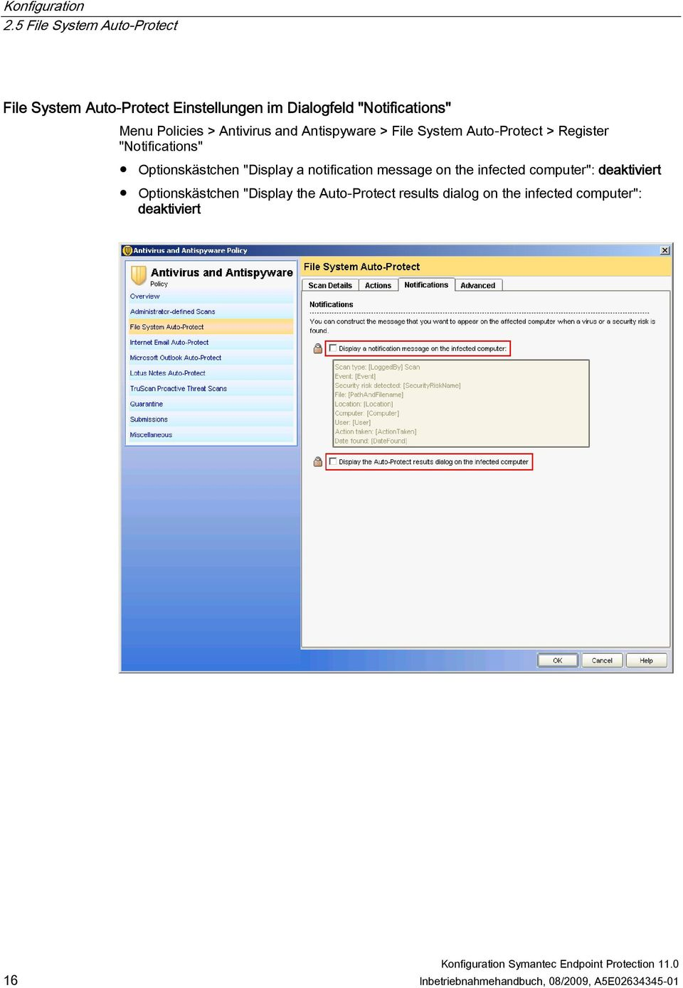 "notification message on the infected computer"": deaktiviert Optionskästchen ""Display the"