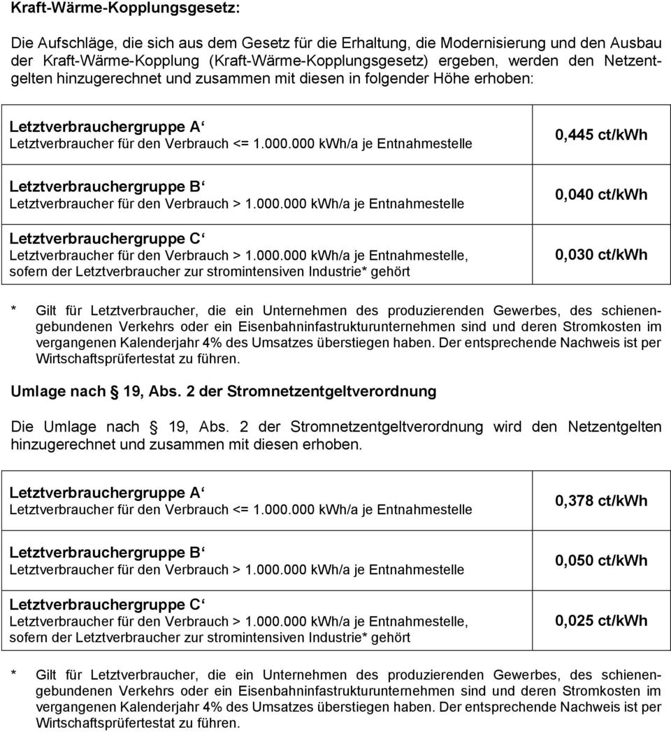 000 kwh/a je Entnahmestelle 0,445 ct/kwh Letztverbrauchergruppe B Letztverbraucher für den Verbrauch > 1.000.000 kwh/a je Entnahmestelle Letztverbrauchergruppe C Letztverbraucher für den Verbrauch > 1.