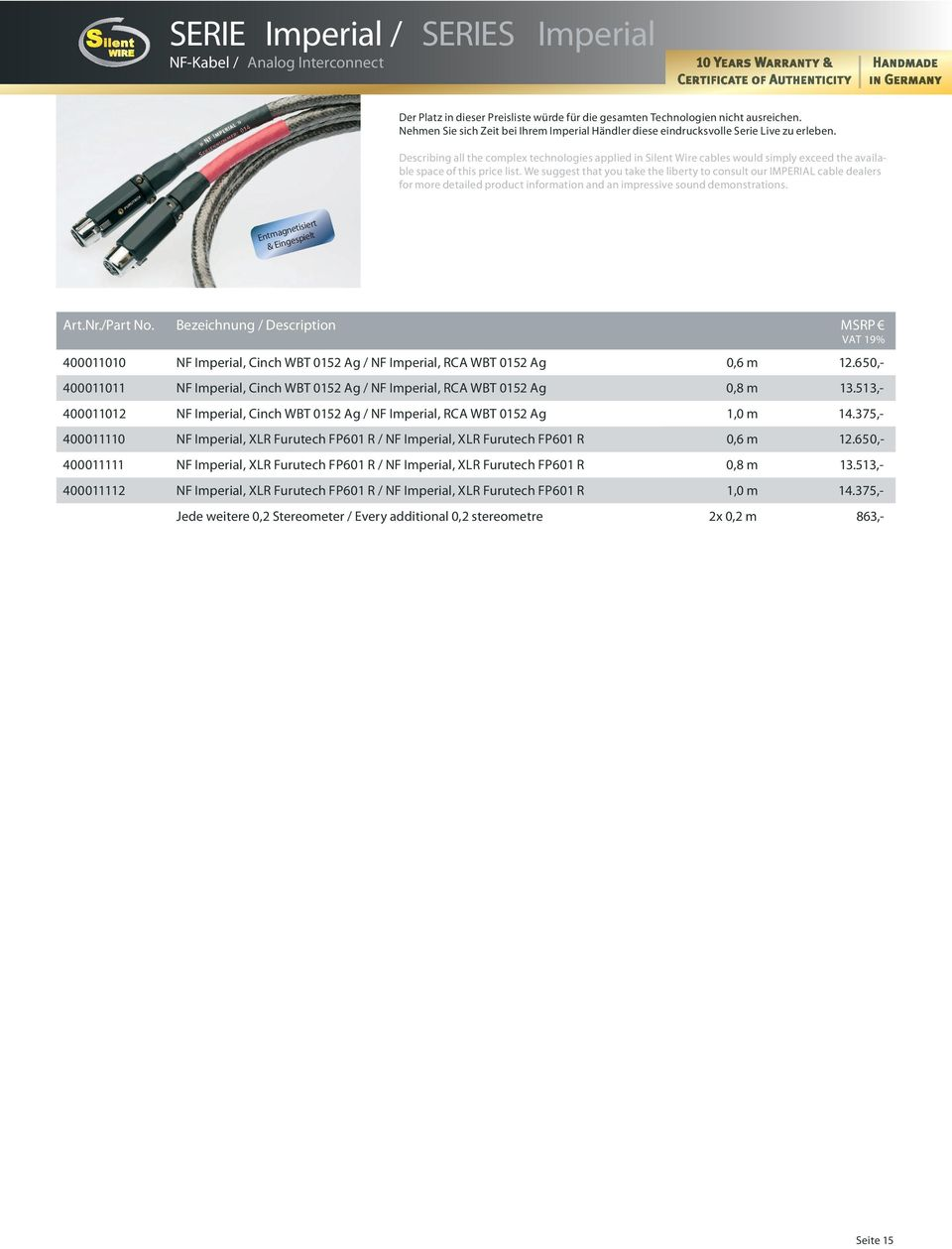 Describing all the complex technologies applied in Silent Wire cables would simply exceed the available space of this price list.