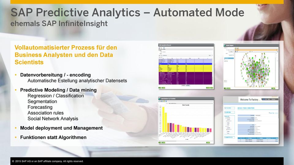 Funktionen statt Algorithmen This presentation and SAP s strategy and possible future developments are subject to change and may be changed by SAP at any time for any reason without notice.