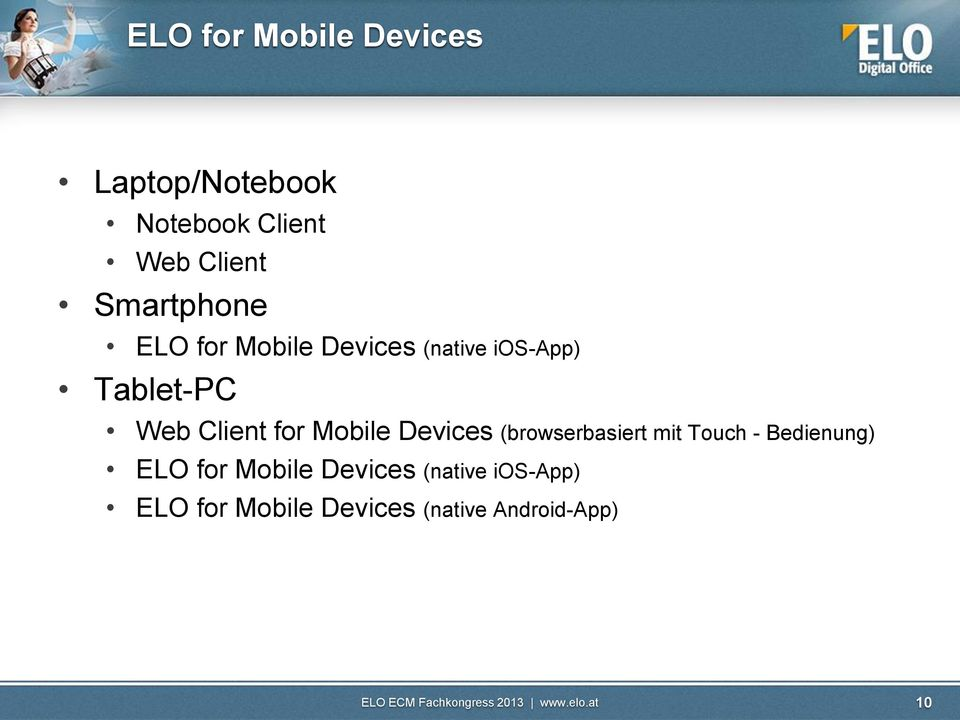 Client for Mobile Devices (browserbasiert mit Touch - Bedienung) ELO