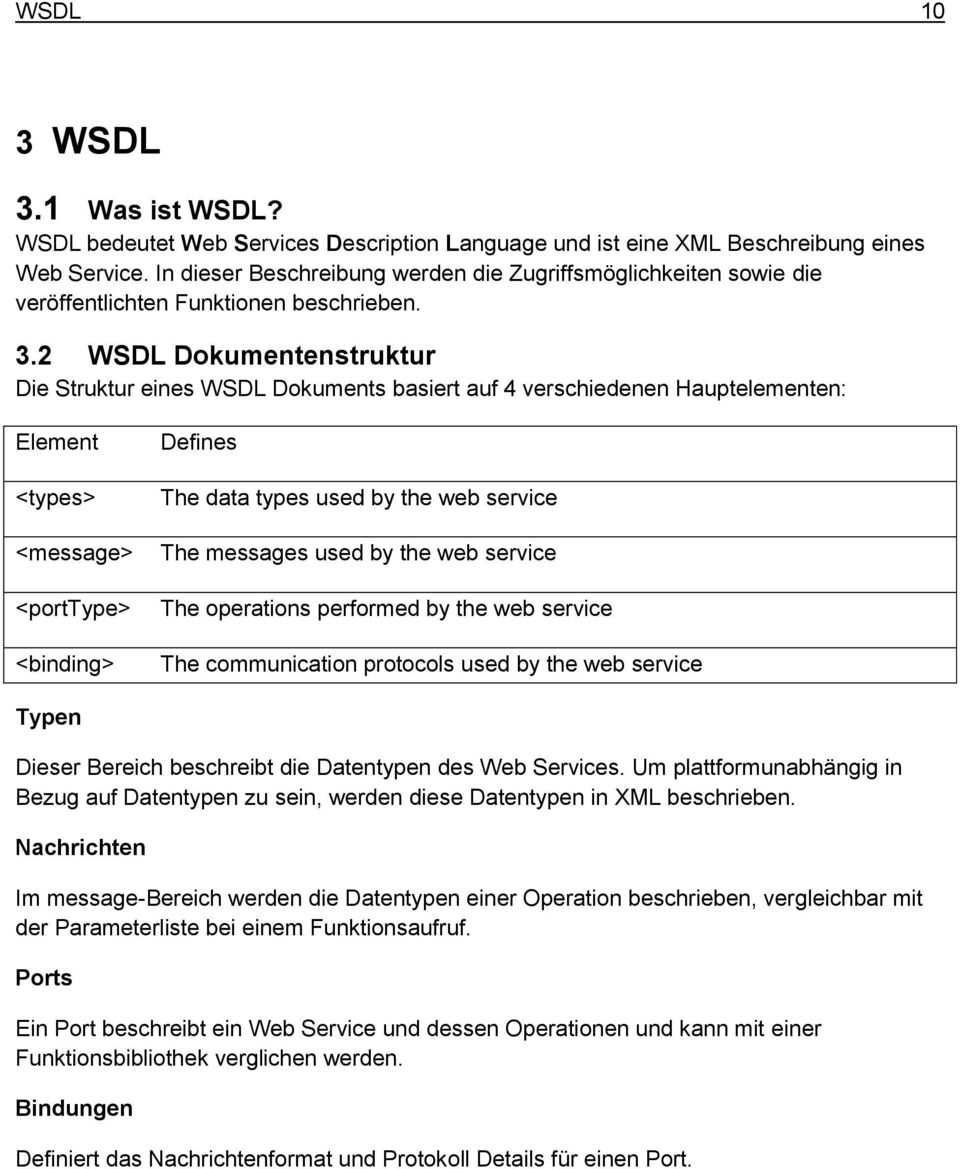 2 WSDL Dokumentenstruktur Die Struktur eines WSDL Dokuments basiert auf 4 verschiedenen Hauptelementen: Element <types> <message> <porttype> <binding> Defines The data types used by the web service