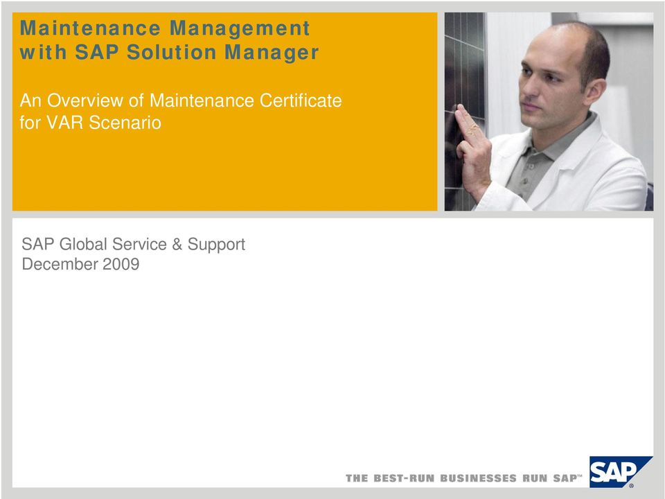 Maintenance Certificate for VAR