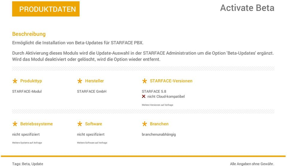 Administration um die Option 'Beta-Updates' ergänzt.