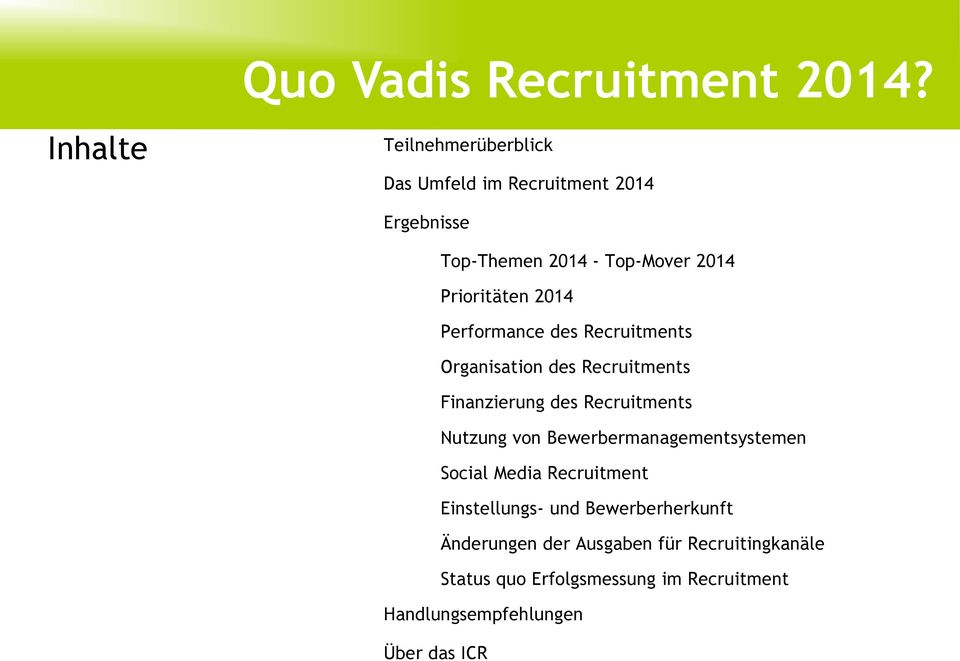 Prioritäten 2014 Performance des Recruitments Organisation des Recruitments Finanzierung des Recruitments Nutzung