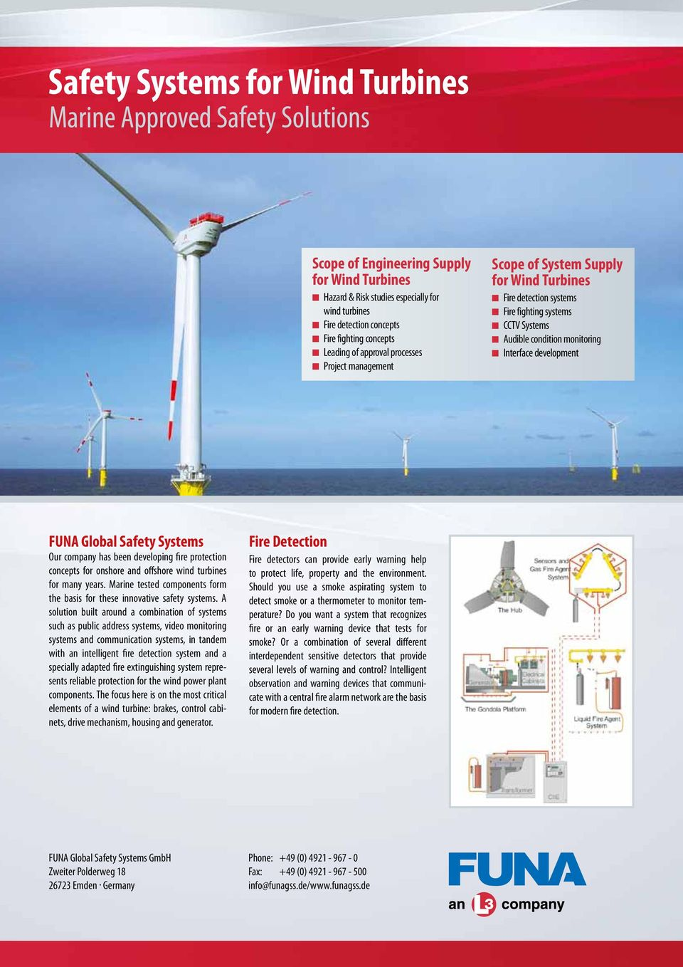 monitoring n Interface development FUNA Global Safety Systems Our company has been developing fire protection concepts for onshore and offshore wind turbines for many years.