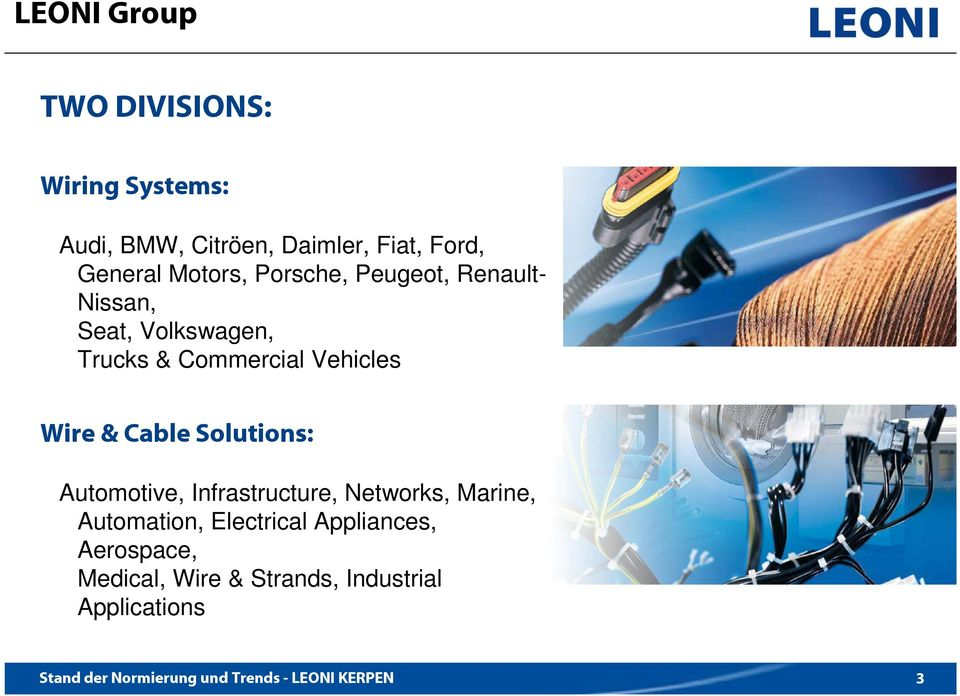 Commercial Vehicles Wire & Cable Solutions: Automotive, Infrastructure, Networks,