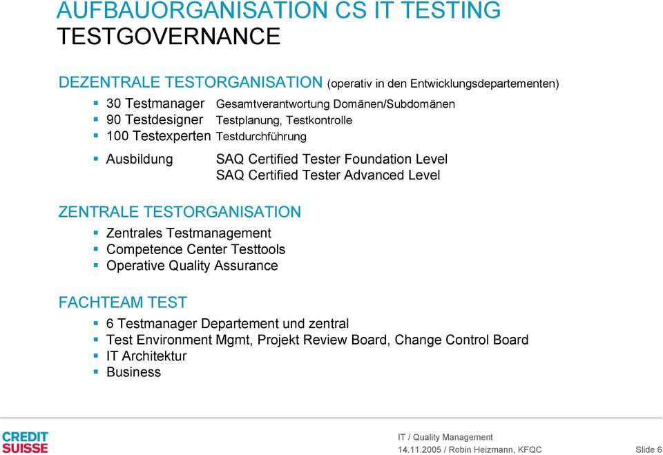 Testmanagement Competence Center Testtools Operative Quality Assurance FACHTEAM TEST SAQ Certified Tester Foundation Level SAQ Certified Tester Advanced