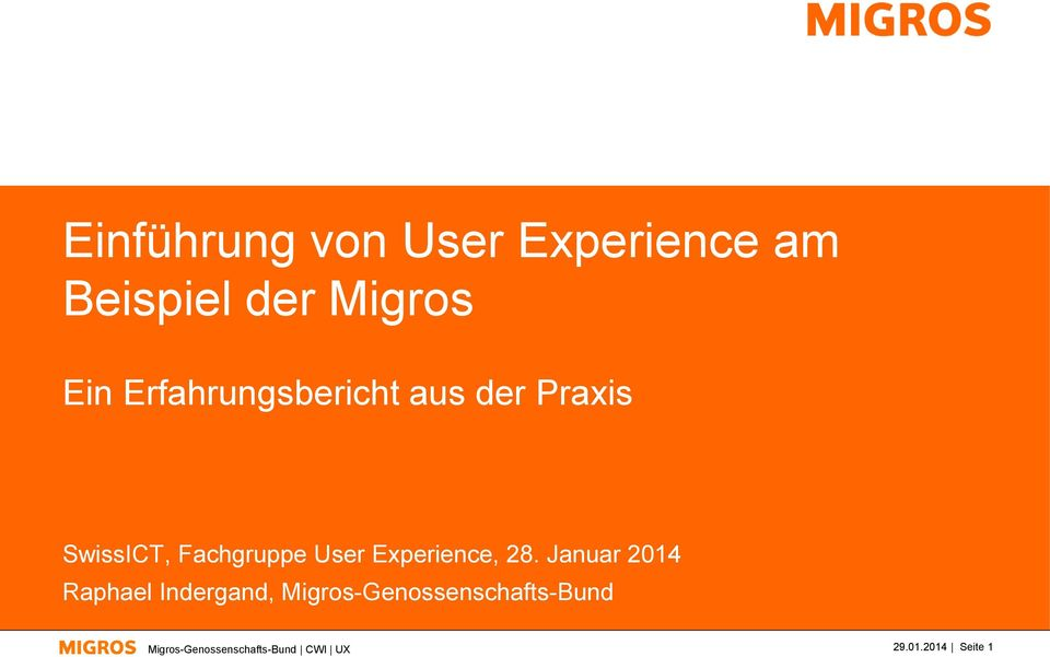 SwissICT, Fachgruppe User Experience, 28.