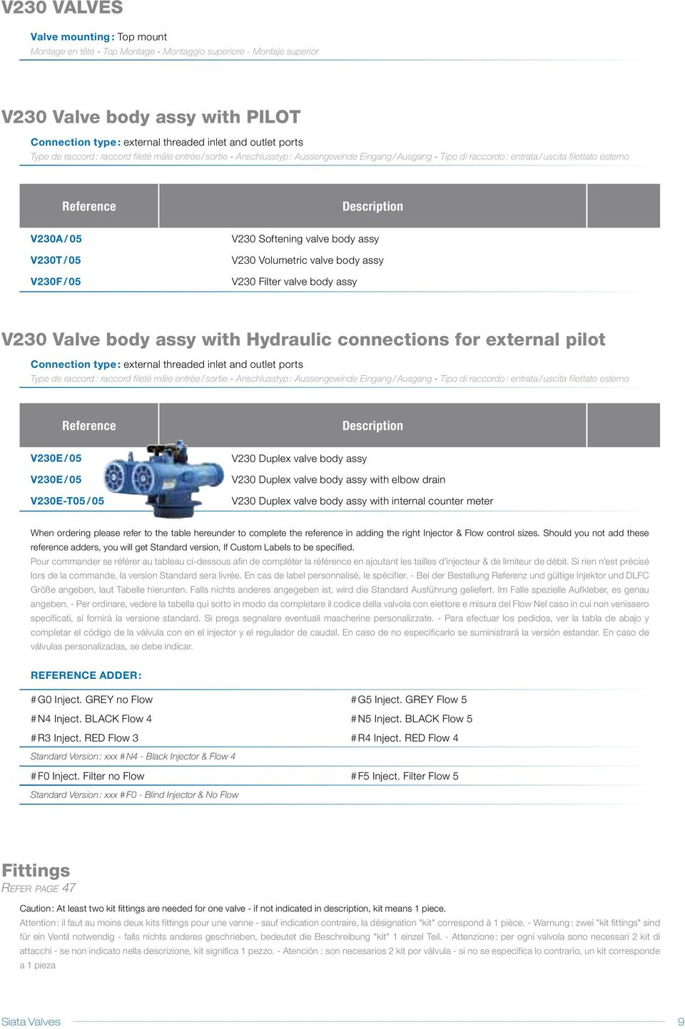 Filter valve body assy V230 Valve body assy with Hydraulic connections for external pilot external threaded inlet and outlet ports Type de raccord : raccord fileté mâle entrée / sortie - Anschlusstyp