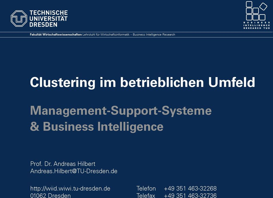 & Business Intelligence Prof. Dr. Andreas Hilbert Andreas.Hilbert@TU-Dresden.