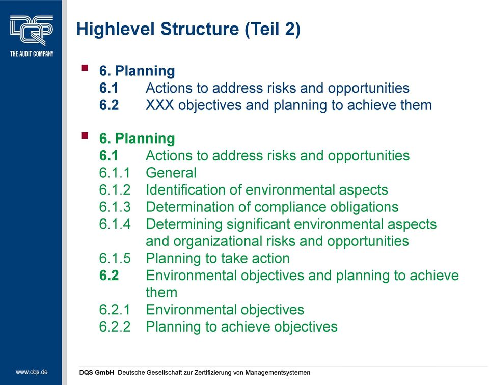 1.4 Determining significant environmental aspects and organizational risks and opportunities 6.1.5 Planning to take action 6.