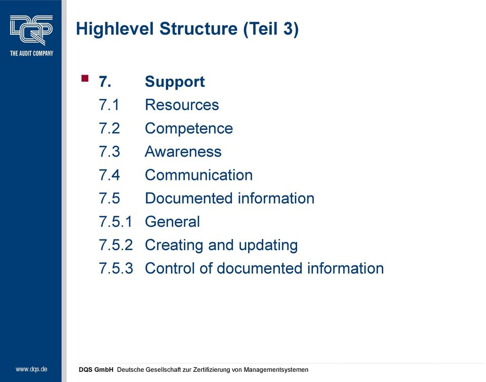 4 Communication 7.5 Documented information 7.5.1 General 7.