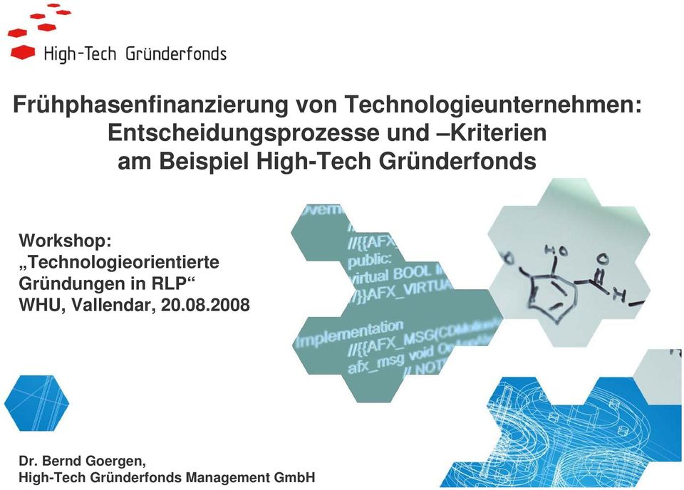 Gründerfonds Workshop: Technologieorientierte Gründungen in RLP