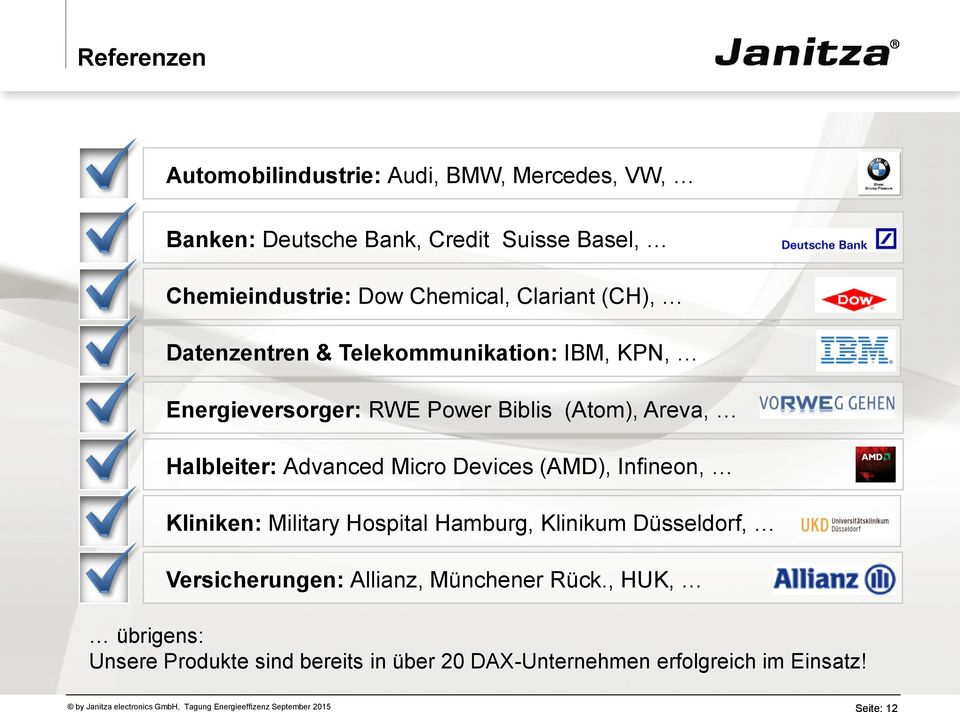 Halbleiter: Advanced Micro Devices (AMD), Infineon, Kliniken: Military Hospital Hamburg, Klinikum Düsseldorf,