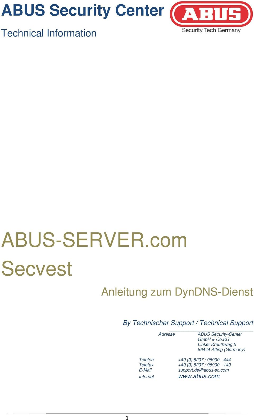 Adresse ABUS Security-Center GmbH & Co.