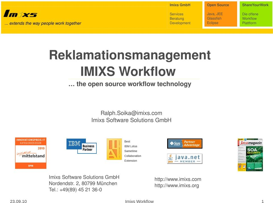 com Imixs Software Solutions GmbH Best IBM Lotus Sametime Collaboration