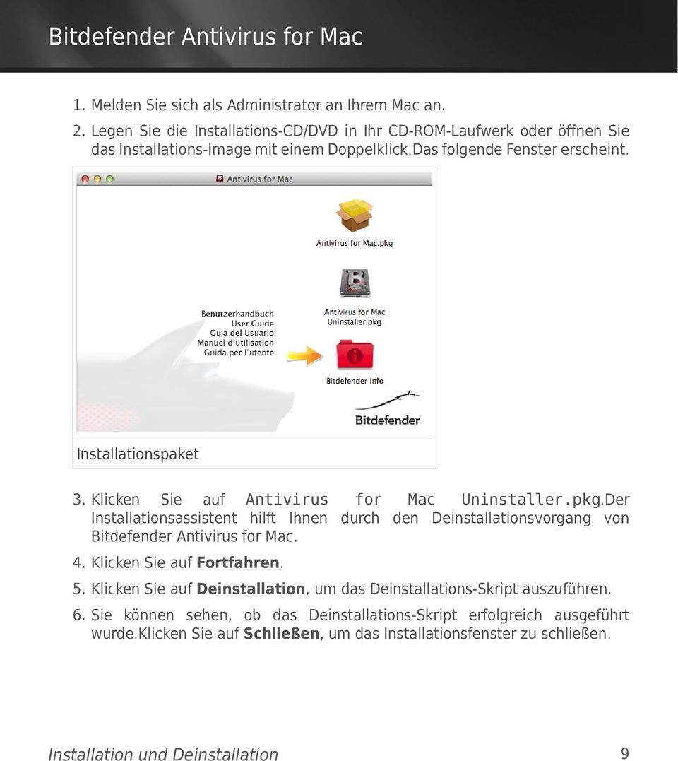Installationspaket 3. Klicken Sie auf Antivirus for Mac Uninstaller.pkg.