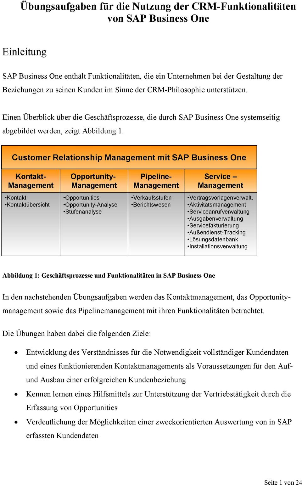 Customer Relationship Management mit SAP Business One Pipeline- Management Opportunity- Management Kontakt- Management Service Management Kontakt Kontaktübersicht Opportunities Opportunity-Analyse