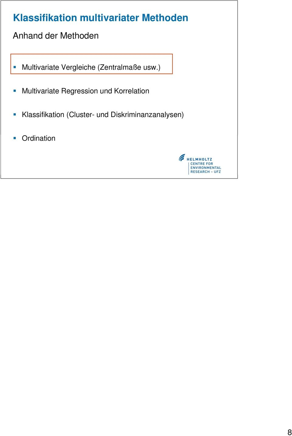 ) Multivariate Regression und Korrelation