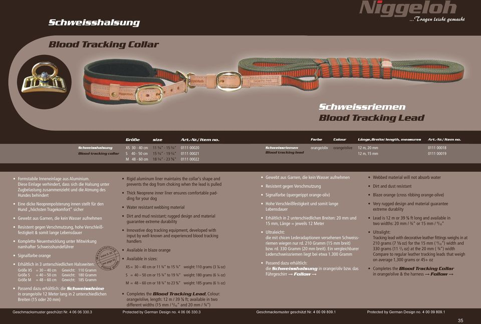Schweisshalsung Blood tracking collar XS 30-40 cm S 40-50 cm M 48-60 cm 11 ¾ - 15 ¾ 15 ¾ - 19 ¾ 18 ¾ - 23 ⅝ 0111 00020 0111 00021 0111 00022 Schweissriemen Blood tracking lead orange/oliv