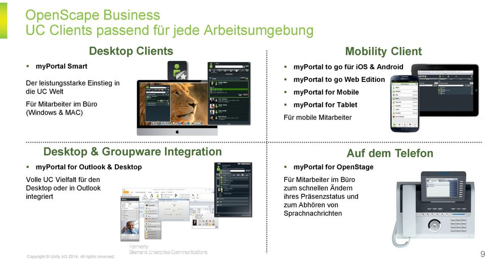 Tablet Für mobile Mitarbeiter Desktop & Groupware Integration myportal for Outlook & Desktop Volle UC Vielfalt für den Desktop oder in Outlook