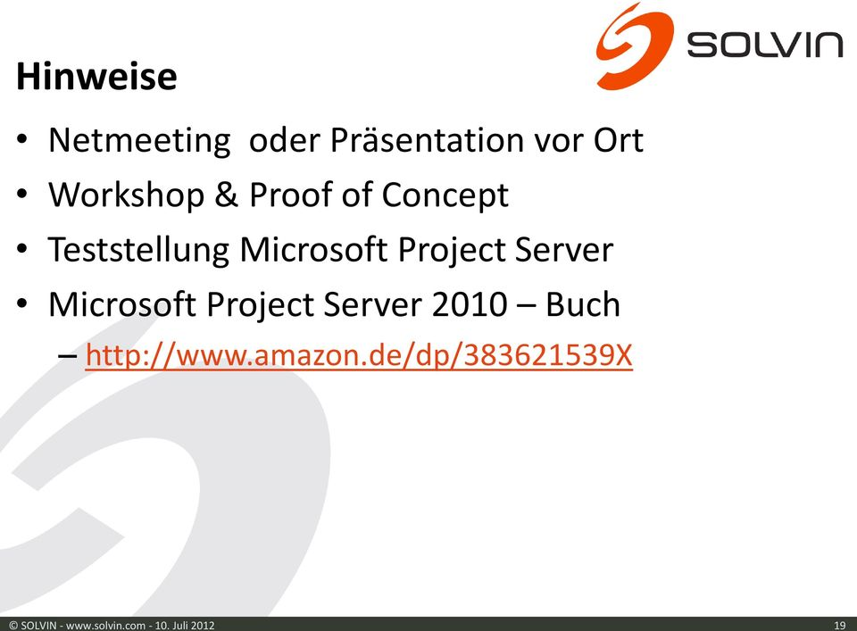 Server Microsoft Project Server 2010 Buch http://www.