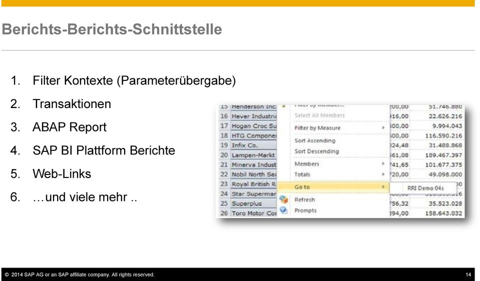 ABAP Report 4. SAP BI Plattform Berichte 5. Web-Links 6.