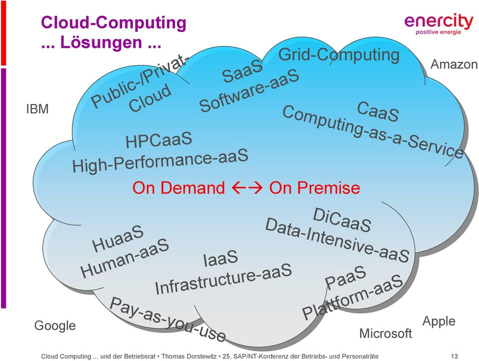 On Premise Amazon HPCaaS High-Performance-aaS DiCaaS HuaaS Human-aaS IaaS Infrastructure-aaS PaaS