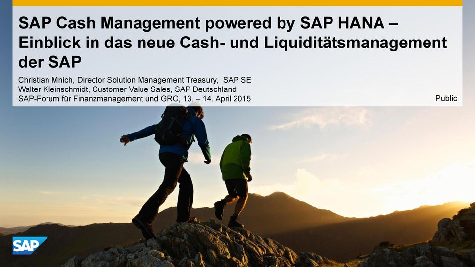 Management Treasury, SAP SE Walter Kleinschmidt, Customer Value Sales,