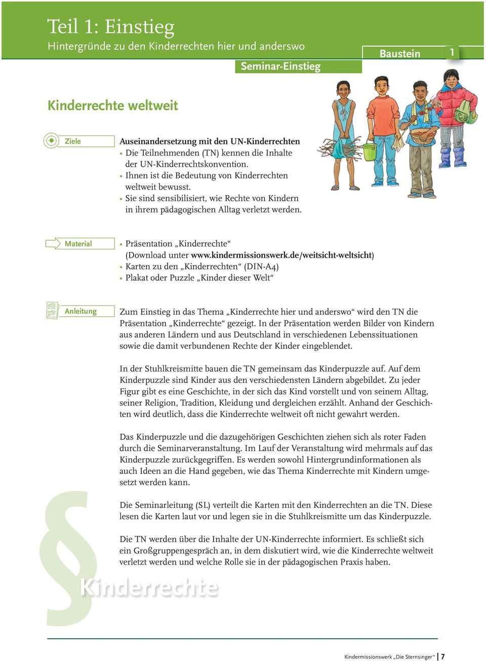 Material Präsentation Kinderrechte (Download unter www.kindermissionswerk.