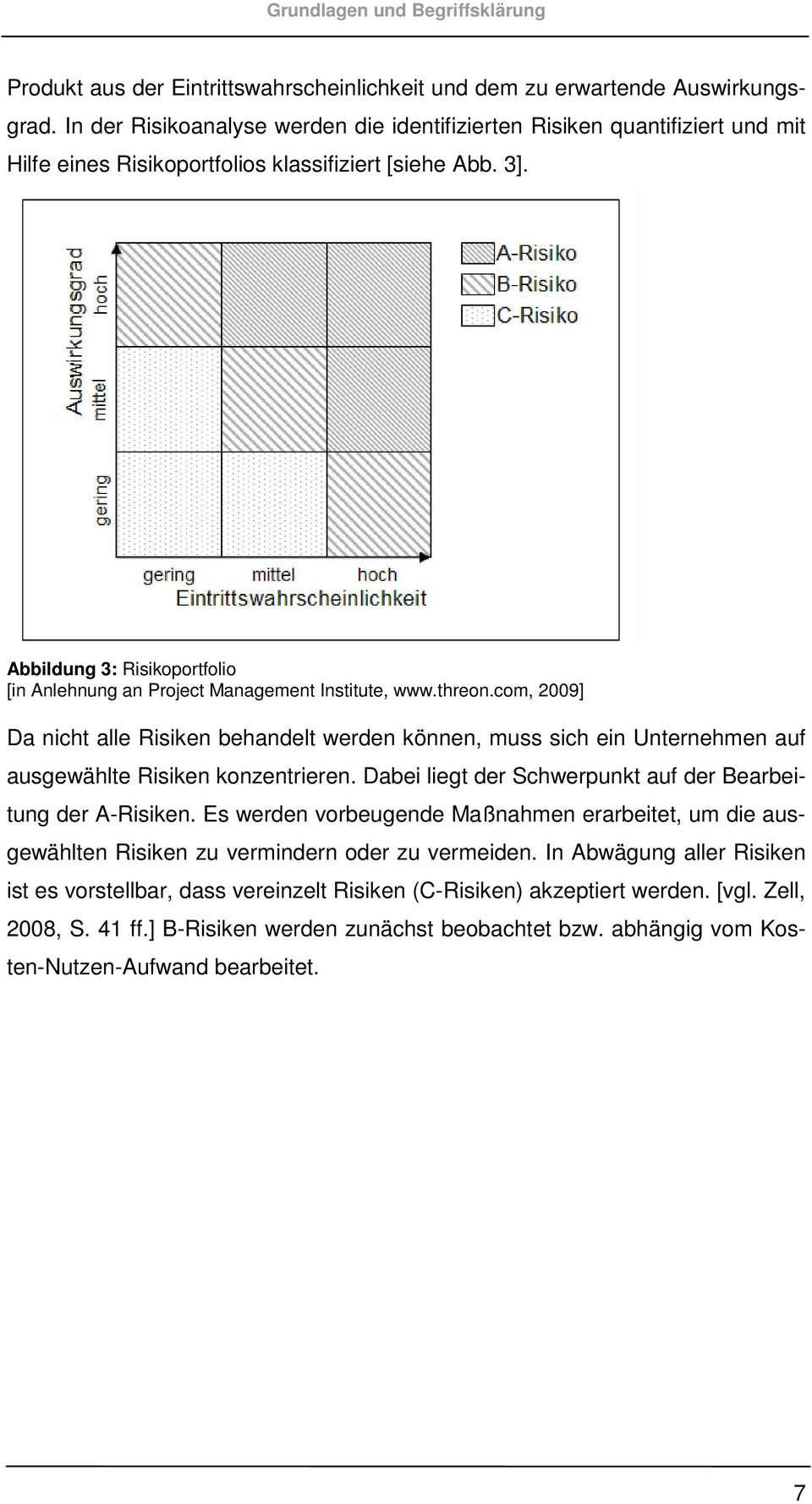 Abbildung 3: Risikoportfolio [in Anlehnung an Project Management Institute, www.threon.