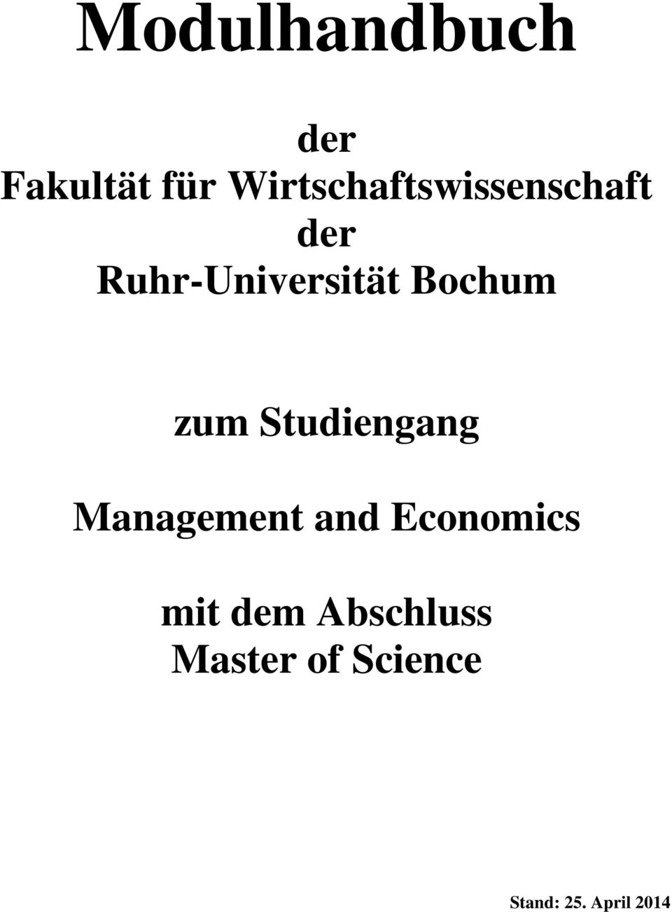 Bochum zum Studiengang Management and