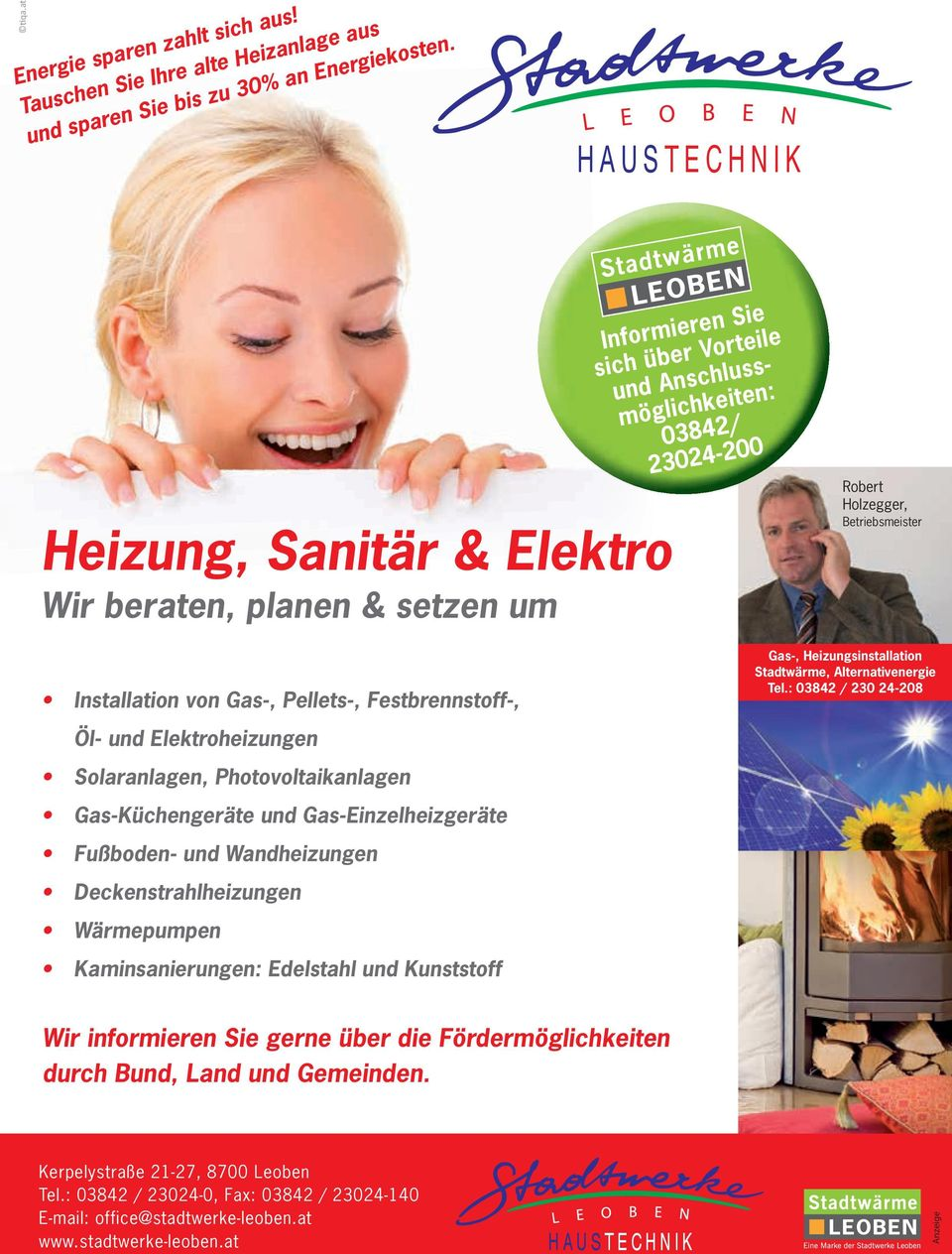 von Gas-, Pellets-, Festbrennstoff-, Gas-, Heizungsinstallation Stadtwärme, Alternativenergie Tel.