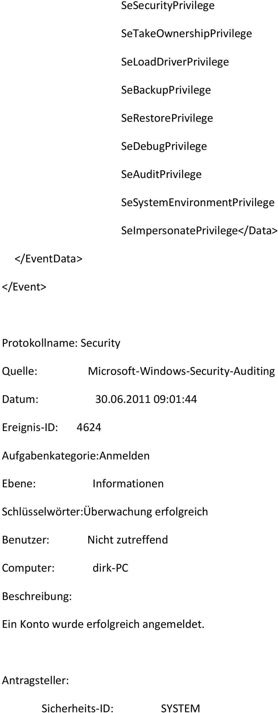 Microsoft-Windows-Security-Auditing Datum: 30.06.