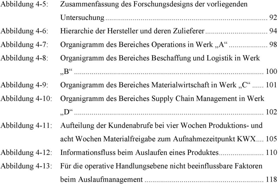 .. 100 Organigramm des Bereiches Materialwirtschaft in Werk C... 101 Organigramm des Bereiches Supply Chain Management in Werk D.