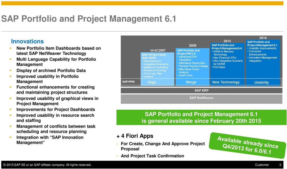Portfolio Management Functional enhancements for creating and maintaining project structures Improved usability of graphical views in Project Management Improvements for Project Dashboards Improved